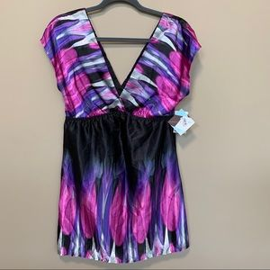 6 Degrees V-Back Printed Mini Dress Sz M NWT